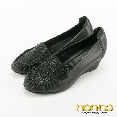 nonno-低調奢華幾何碎鑽楔型跟鞋-黑