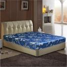 艾維斯 藍色緹花護背式冬夏兩用彈簧床墊-雙人加大6尺