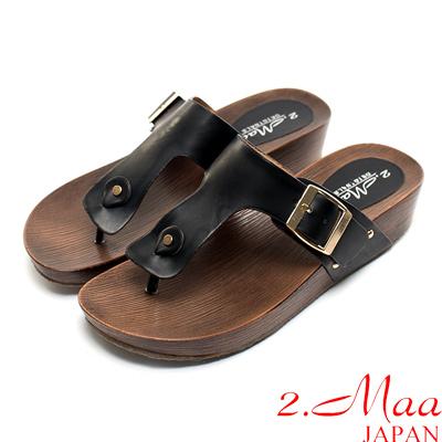 2.Maa-經典簡約刷色船型夾腳拖鞋-百搭黑