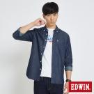 EDWIN 貼袋基本休閒襯衫-男-拔洗藍