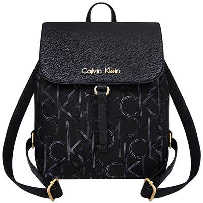 Calvin Klein 黑色LOGO織紋後背包
