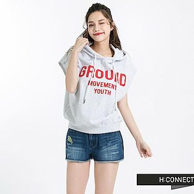 H:CONNECT 韓國品牌 女裝 -特殊袖口短帽T-灰