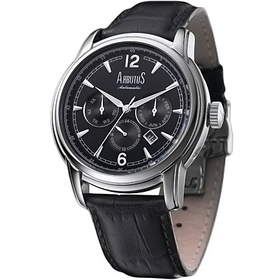 ARBUTUS愛彼特典藏羅馬三眼時尚機械錶-黑/44mm