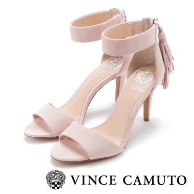 VINCE CAMUTO 歐式甜美 流蘇後鍊繞踝魚口高跟鞋-粉色