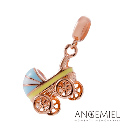 Angemiel安婕米串珠 925純銀吊飾 嬰兒推車