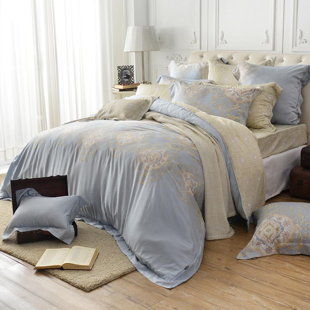義大利La Belle 爵士巴洛 雙人天絲四件式防蹣抗菌舖棉兩用被床包組