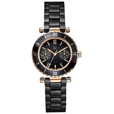 Gc Diver Chic經典時尚雙眼陶瓷錶-黑玫瑰金/34mm