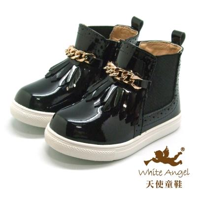 天使童鞋-C2353 流蘇金鍊短靴(小童)-個性黑