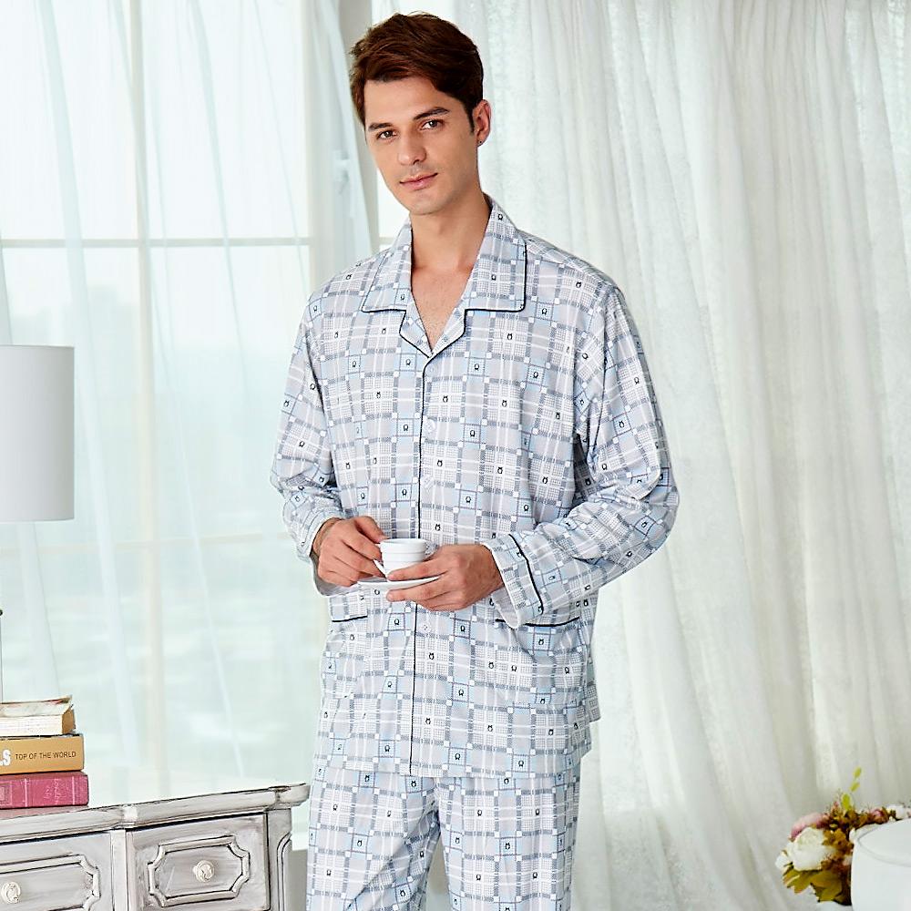 睡衣 精梳棉柔針織 男性長袖兩件式睡衣(68233)水藍格紋 蕾妮塔塔 @ Y!購物