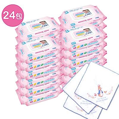 貝比Q EDI超厚超純水柔濕巾量販特價組(箱)(無香料)+奇哥 彼得兔紗布手帕/3入