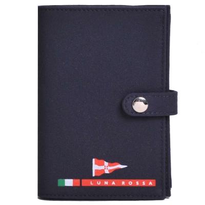 LUNA ROSSA by PRADA 風帆盃字母LOGO 名片夾(深藍黑色)