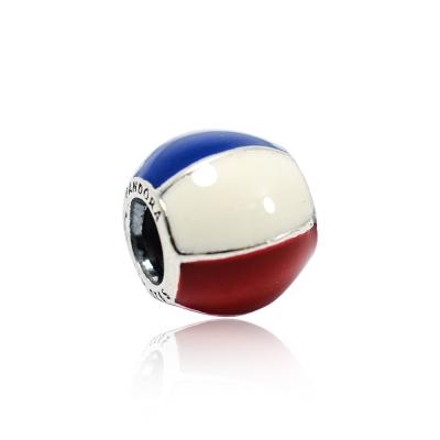 Pandora 潘朵拉 藍白紅相間圓球 純銀墜飾 串珠