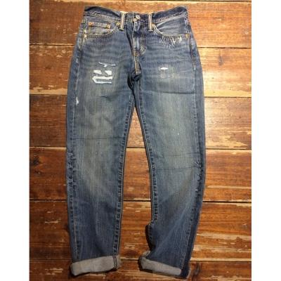 Levis 男款 511 低腰修身窄管牛仔長褲 / 破壞磨損
