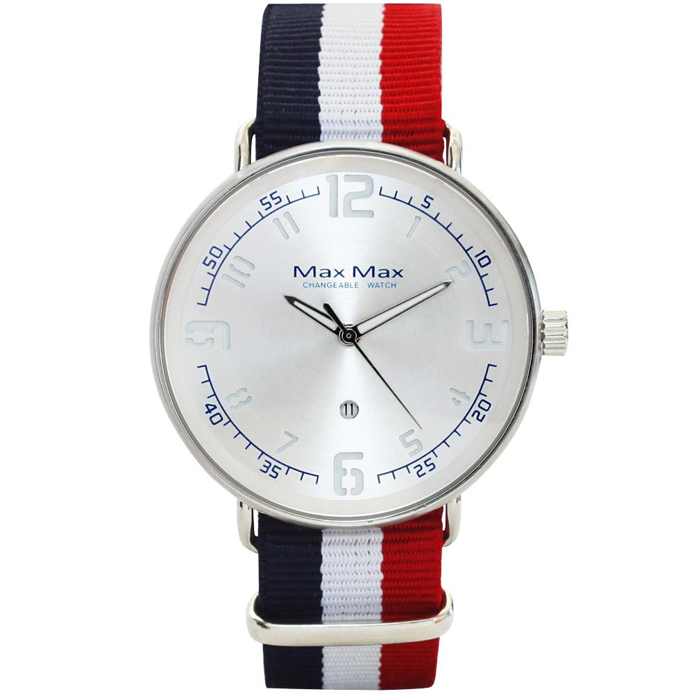 Max Max 簡約紐約夾層帆布風腕錶-銀X藍白紅/41mm