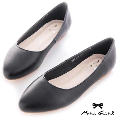 Mori girl 極簡素面圓尖楦頭平底鞋 黑