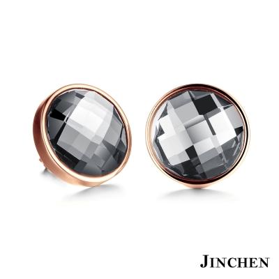 JINCHEN 白鋼圓形水晶耳環 玫瑰金