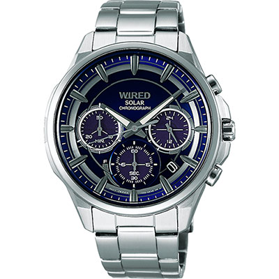 WIRED 東京玩家三眼計時腕錶(AGAD070J)-藍/42mm