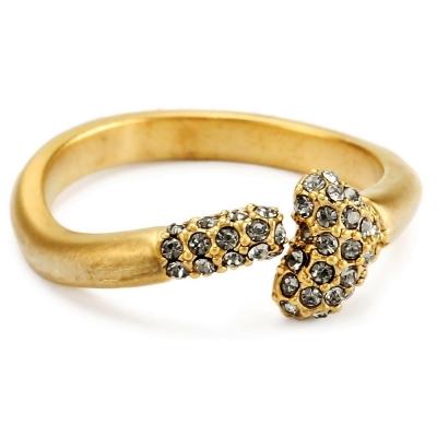 House of Harlow 1960 細緻白鑽 立體骨頭造型 霧面金色戒指