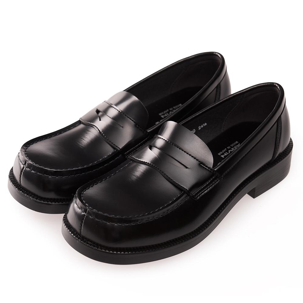 (女)日本 HARUTA 經典平底方頭皮鞋-黑色