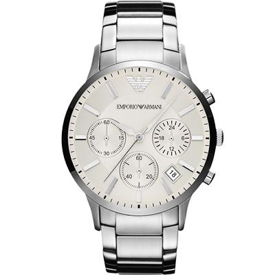 ARMANI 旗艦型男計時腕錶-銀/46mm