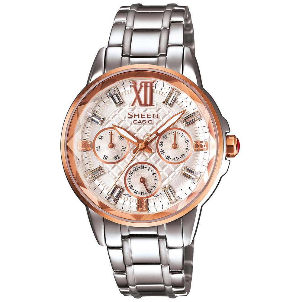 SHEEN 璀璨多角度鏡面切割菱格紋錶(SHE-3029SG-7A)-白x玫瑰金/34.6mm