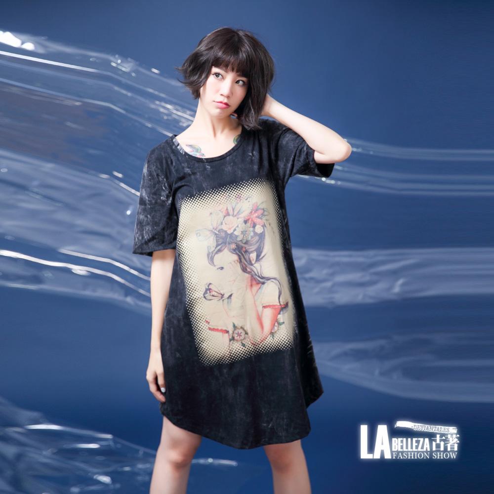 古著 仿舊感遮眼美人頭頂蝴蝶髮飾水洗棉洋裝 product image 1