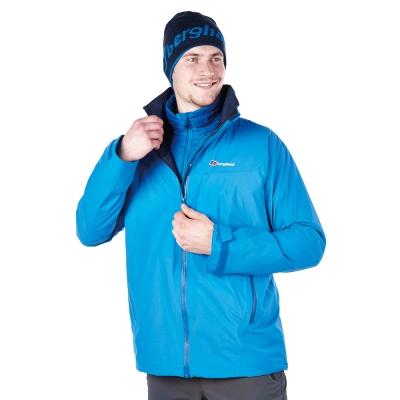 【Berghaus貝豪斯】男款GT防水透氣拆帽外套H22MT4-藍