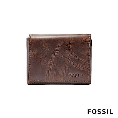 FOSSIL DERRICK手揉感真皮RFID短夾-深咖啡色