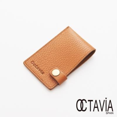 OCTAVIA 8 真皮 - JUST SIMPLE 扁式原皮壓扣名片夾 - 原味棕