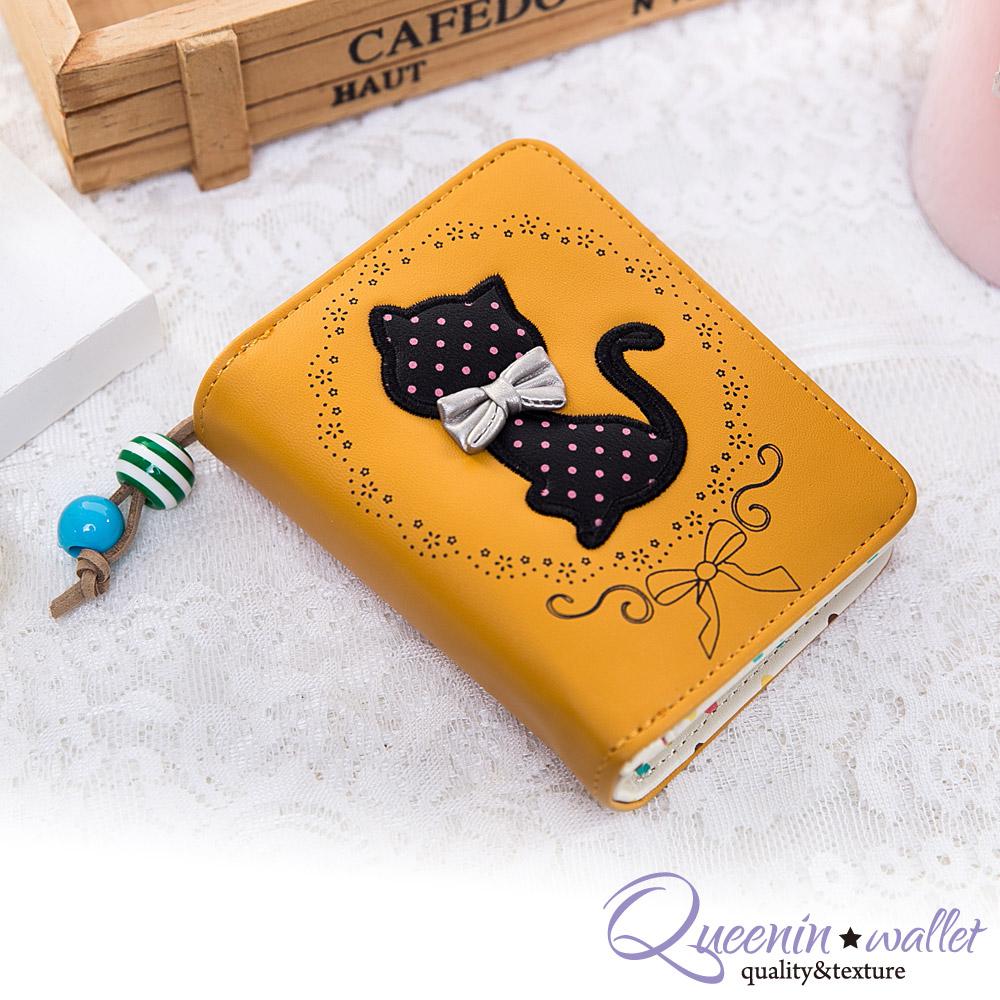 DF Queenin皮夾 - 韓版俏麗氣質大貓咪拉鍊短夾-黃色