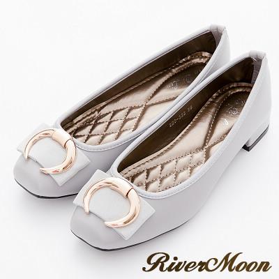 River-Moon跟鞋-經典牛角金扣Q軟方頭跟鞋-灰系