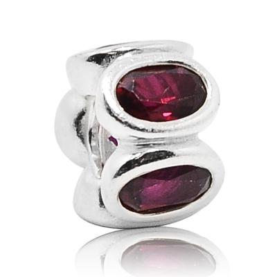 Pandora 潘朵拉 橢圓紫紅鑽間隔珠 純銀墜飾 串珠