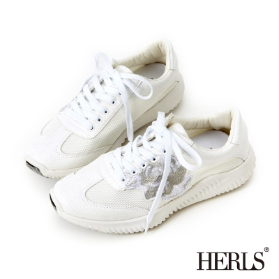 HERLS 夏日氣息 俏皮繡花休閒鞋 -白色