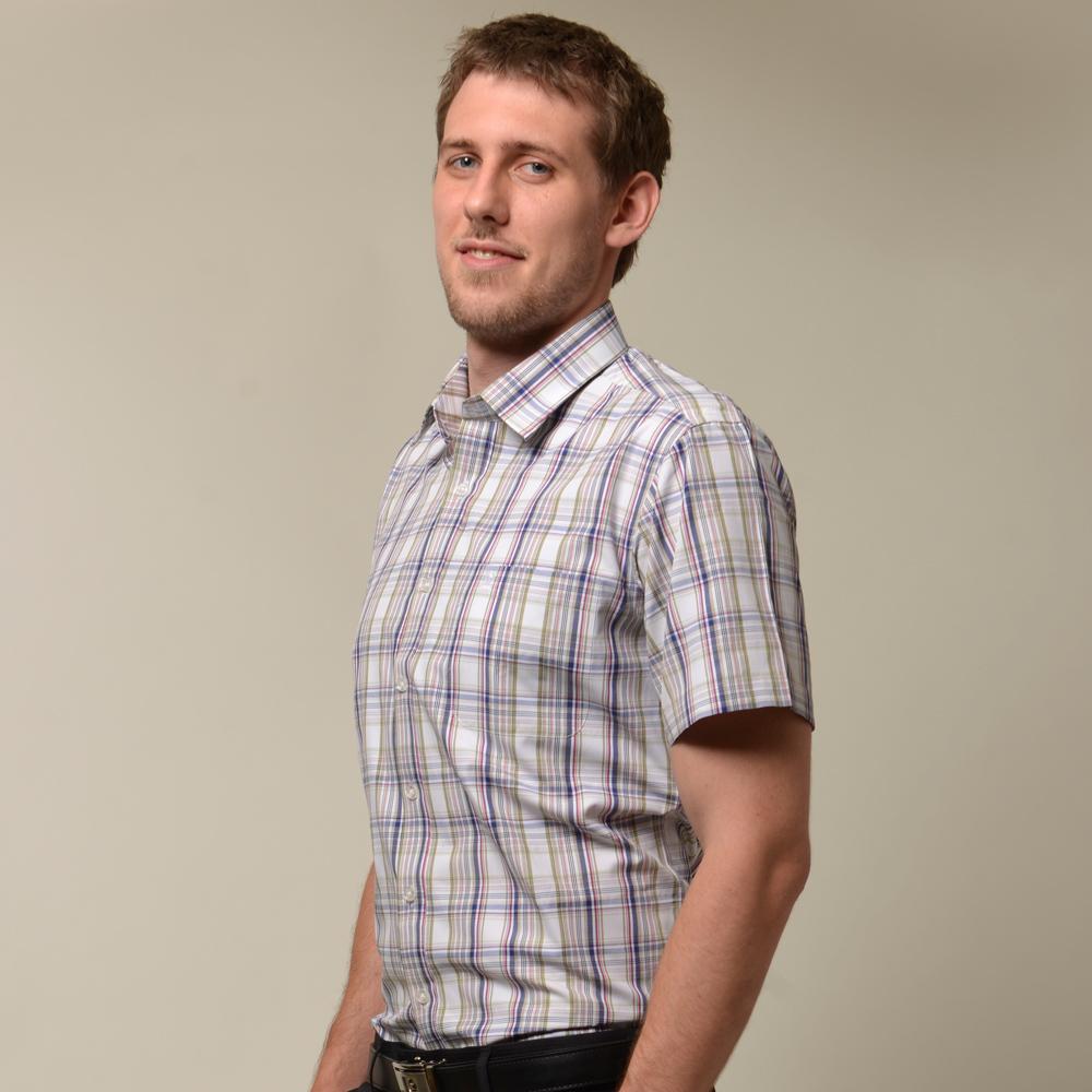 金‧安德森 粉藍白格紋窄版短袖襯衫