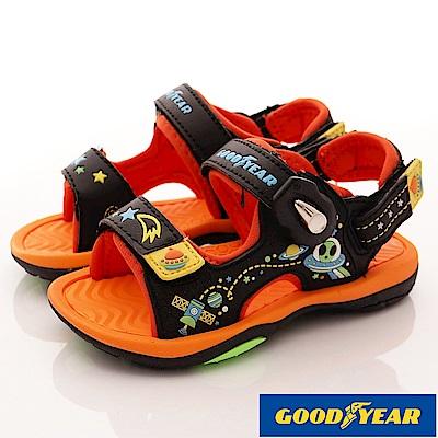 GOODYEAR戶外童鞋 磁扣運動涼鞋 EI8083黑橘(中大童段)