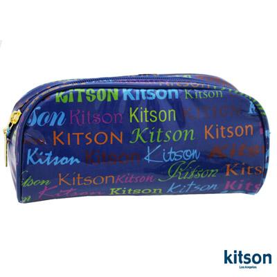 【kitson】 繽紛LOGO 漆皮化妝包 (藍)