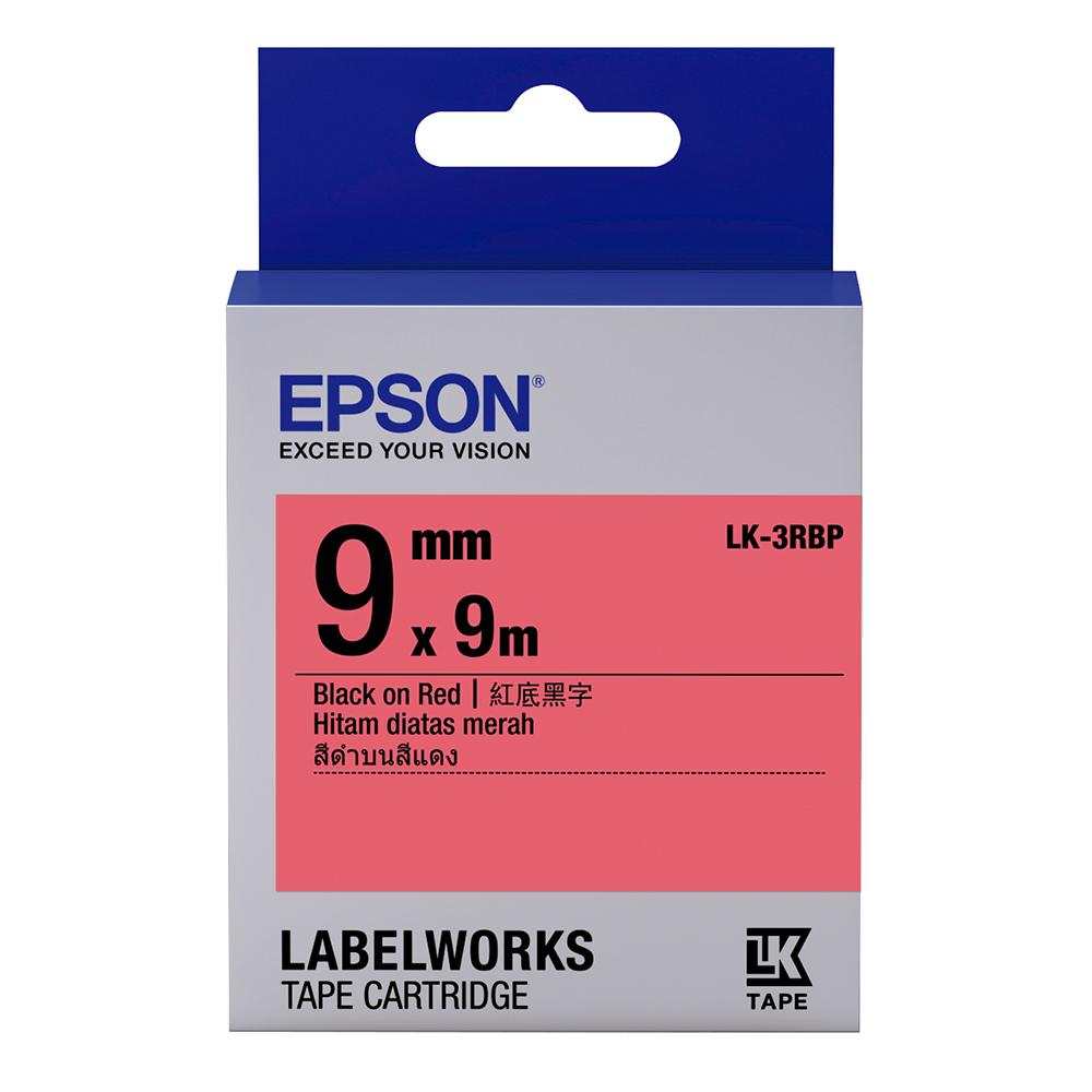 EPSON C53S653403 LK-3RBP粉彩系列紅底黑字標籤帶(寬度9mm)