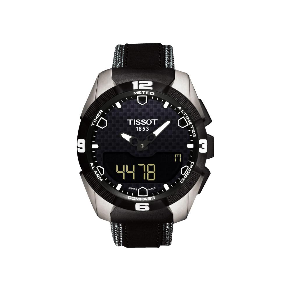 TISSOT T-TOUCH EXPERT SOLAR 鈦金屬太陽能觸控皮帶腕錶-黑/45mm