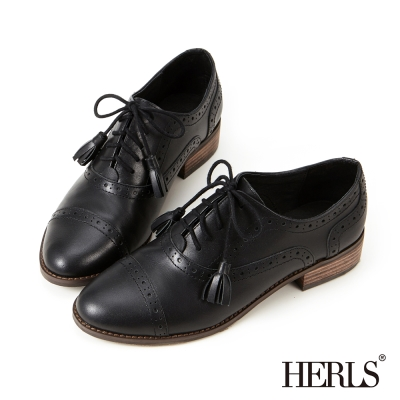 HERLS-鞋匠手作-全真皮流蘇綁帶牛津鞋-黑色
