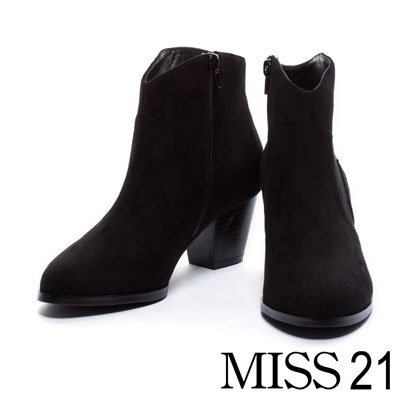 踝靴 MISS 21 經典西部牛仔粗跟踝靴-黑