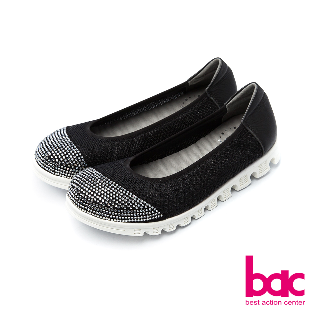 bac運動時尚-鞋頭燙鑽拼接透氣網狀布料休閒鞋-黑