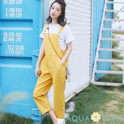 清新糖果色寬鬆口袋連身褲 (共三色)-AQUA Peach