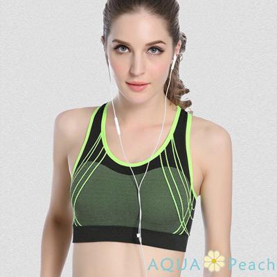 運動內衣 X型美背線條設計無鋼圈運動背心 (綠色)-AQUA Peach