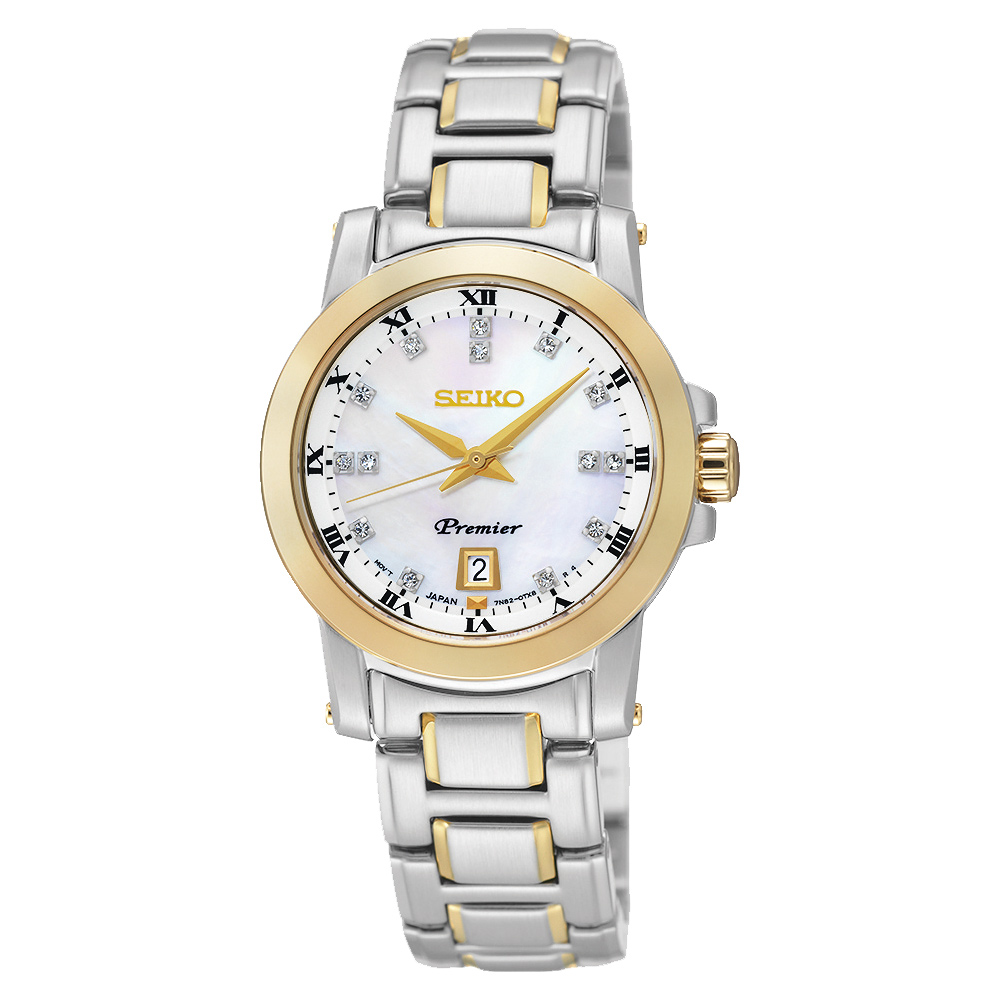 SEIKO Premier 羅馬之戀時尚晶鑽女錶(SXDG02J1)-珍珠貝x雙色版/28mm