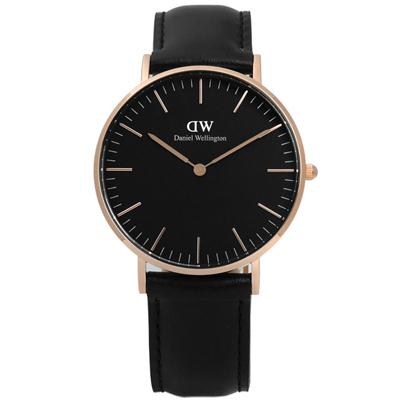DW Daniel Wellington Classic旗艦真皮手錶-黑x玫瑰金/36mm