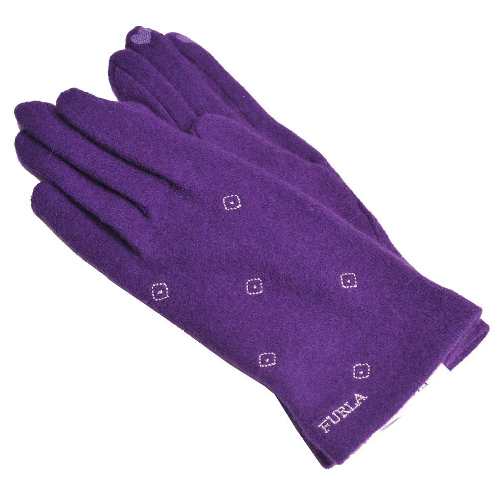 FURLA 品牌字母菱格刺繡LOGO保暖造型可觸控手套(紫色)