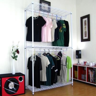 頂堅三層金屬鐵線網型(雙桿)吊衣架-素雅白色(附布套11色可選)