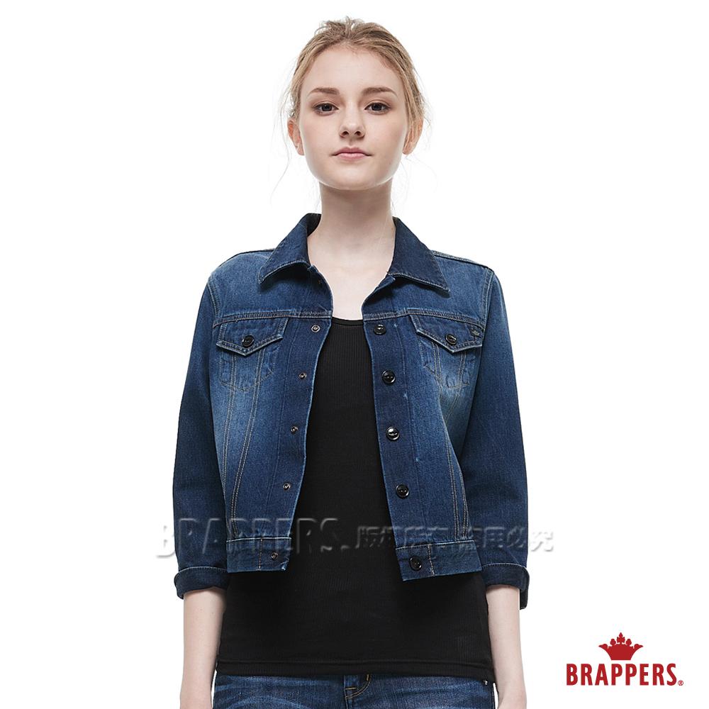 BRAPPERS 女款 鑽石花朵小鳥刺繡牛仔外套-藍--動態show