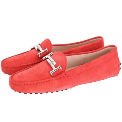 TOD'S Gommino Driving 雙T金屬麂皮豆豆休閒鞋(女鞋/橘紅)