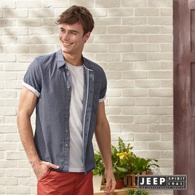 JEEP 復古滿版花紋造型短袖襯衫 灰藍 (合身版)